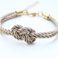 ON SALE Bridesmaid gift  Small Brown silk Knot Bracelet by Brinkle