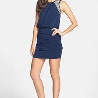 Way-In Embellished Ruched Blouson Dress (Juniors) (Online Only)