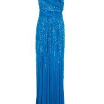 V Neck Beaded Dress  Ellie Saab Gown