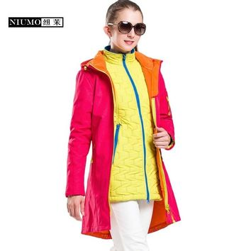 Autumn And Winter outdoor Female Long section Fleece Soft shell jacket