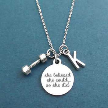 Personalized, Letter, Initial, She believed, she could..., so she did, Dumbbell, Silver, Necklace, Workout, Exercises, Achievement, Jewelry