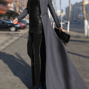 Grey Long Sleeve Zipper Maxi Coat