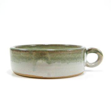 White and green cereal bowl with thumb hole, pottery cereal bowl, stoneware soup bowl, thumb grip bowl
