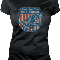 Lucky 13 Give Blood Roller Derby inspired Girlfriend Tee - Short Sleeve Tees - Women's - Grease, Gas and Glory