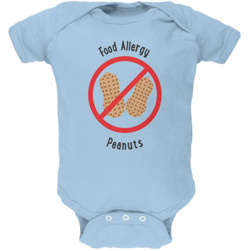 Food Allergy Peanuts Kids Light Blue Soft Baby One Piece