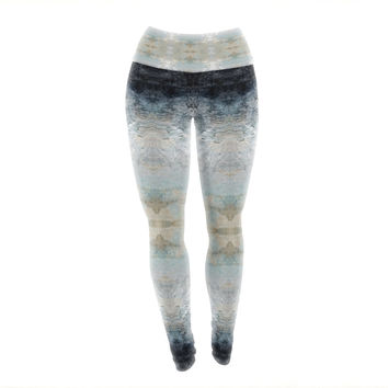"Pia Schneider ""Heavenly Bird III"" Blue Pattern Yoga Leggings"