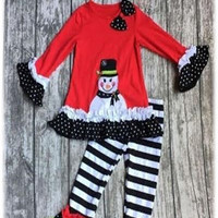 Ruffle and Snowman Girls Christmas Outfit
