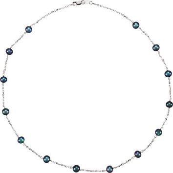 Black Pearl Station Necklace