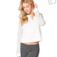 Live Love Dream Womens LLD Leopard Raglan Sweatshirt - Beige,