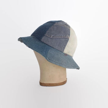 Vintage 70s DENIM Hat / 1970s Patchwork Jeans Hippie Bucket Hat
