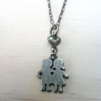 "Boy and Girl Couple ""Young Love"" Necklace"