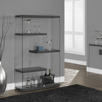 "Glossy Grey Hollow-Core / Tempered Glass 60""H Bookcase"