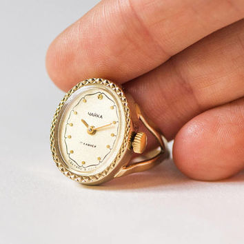 Gold plated women's watch ring Seagull, oval watch ring ornamented, jewelry ring for lady, gift ring watch Soviet, beige face watch rare
