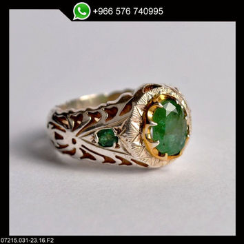 Emerald Ring Sterling Silver Persian Antique Design Genuine Gemstone Size 10.5 US (Re-sizing is available for free)