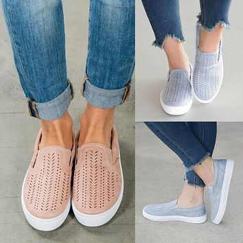 Women Simple Casual Hollow Loafer Canvas Flats Shoes