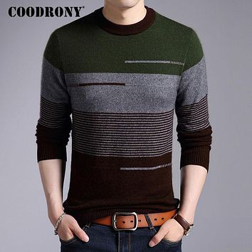 Sweater Men New Casual Striped O-neck Pull Home Thick Warm Wool Sweaters Fleece Mink Cashmere Pullover