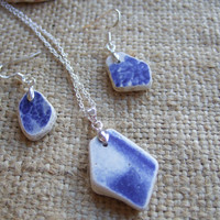 Scottish sea pottery necklace and earring set, sterling silver and pottery jewelery set, necklace and earring set, blue and white necklace