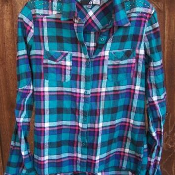 VOLCOM Flannel Shirt Aqua Plaid Urban Top Sz M Ladies PacSun