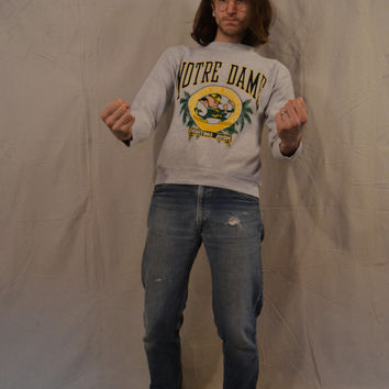 "Wicked Awesome Vintage 90's Notre Dame ""Fighting Irish"" Sweatshirt / Pullover / Crewneck / Large Sweatshirt"