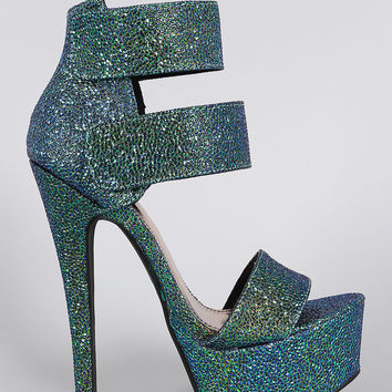 Anne Michelle Iridescent Ankle Cuff Open Toe Chunky Platform Heel