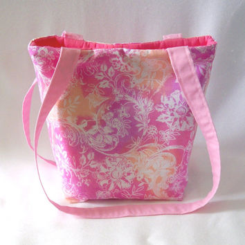 Batik Purse, Small Tote Bag, Cloth Purse, Handmade Handbag, Fabric Bag, Pink Floral Shoulder Bag