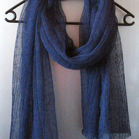 Linen Scarf Blue Organic Linen Women's Scarf Pure Linen Spring Clothing SALE