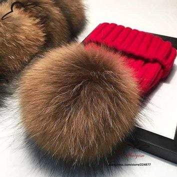 real fur ball cap 15cm pom poms winter hat for women girl 's wool hat knitted cotton beanies cap brand new thick female cap