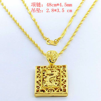24K GP Gold Plated Necklace Mens Women Yellow Gold Golden Jewelry Necklace YHDN 42 MP