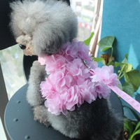 Comfort Soft Breathable Beautiful flowers Adjustable Dog Harness Pet Vest Rope Dog Chest Strap Leash Set Collar Leads Harness
