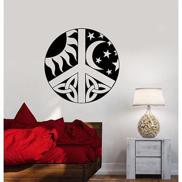 Vinyl Wall Decal Sun Moon Day Night Celtic Style Hippie Symbol Stickers (2772ig)