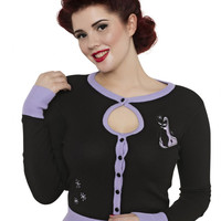 Voodoo Vixen Isabella Retro Kitties Black Cardigan