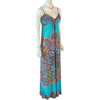 Hippie  Maxi Dress Ethnic Paisley Print  B. Darlin NEW