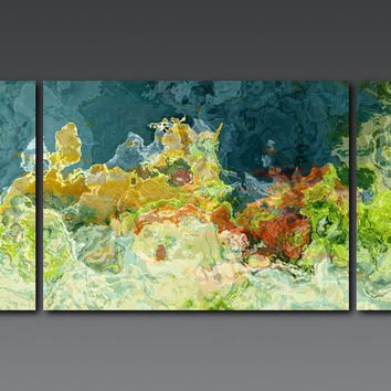 "Abstract art triptych, 30x60 gallery wrap giclee canvas print, in teal and green, from abstract painting ""The Finer Things"""