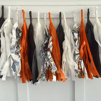 Orange Black and White Tissue Paper Tassel Pennant