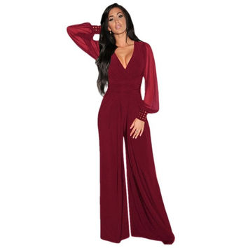 2016 Autumn Sexy Woman Half trumpet Sleeve Deep-V Work OL Jumpsuits Loose Empire bell-bottoms combinaison Casual Rompers
