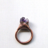 Raw Amethyst Ring Cocktail Gemstone Ring Size 5.5 Birthstone Jewelry February Purple Violet Plum Rough Stone Ring
