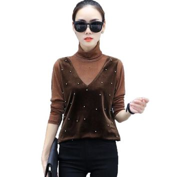 Autumn Long Sleeve Lace Patchwork Velvet Blouse Women Fashion Beading Velvet Pullovers Women Turtleneck Velvet Shirt Women Tops