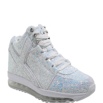 Y.R.U. Qozmo Aiire White Glitter Light-Up Hi-Top Sneakers