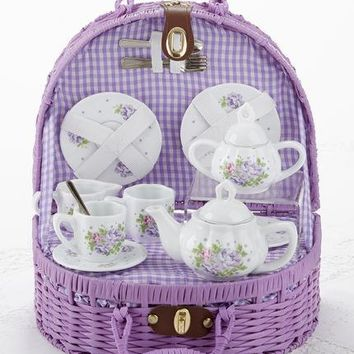 Children's Porcelain Tea Set in Wicker Style Basket - Camellia
