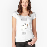 'Ebichu - notice me senpai' Women's Fitted V-Neck T-Shirt by Emma Irwin