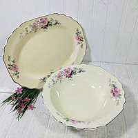 Serving Bowl & Platter Set Early W. S. George Ivory Color China with Pink Wild Salt Spray Roses Matching Bowl and Plate Excellent Condition