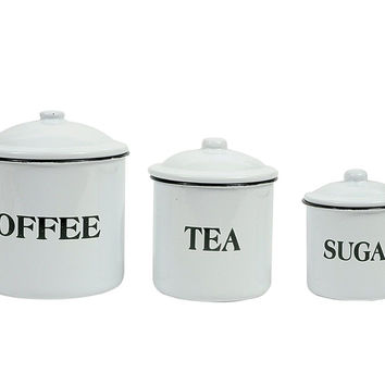 Creative Co-op Coffee Tea Sugar Enamel Metal Containers with Lids Set Multico...