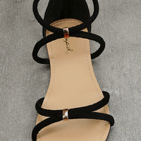 Brietta Black Suede Flat Sandals