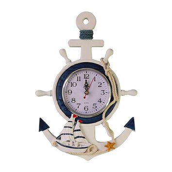 Anchor Clock Beach Sea Theme Nautical Ship Wheel Rudder Steering Wheel clock
