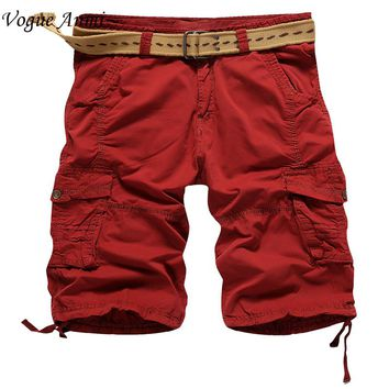 Vogue Anmi Brand Mens Military Cargo Shorts 2017 New Army Casual Shorts Men Cotton Loose Work Casual Short Pants Plus Size 30-40