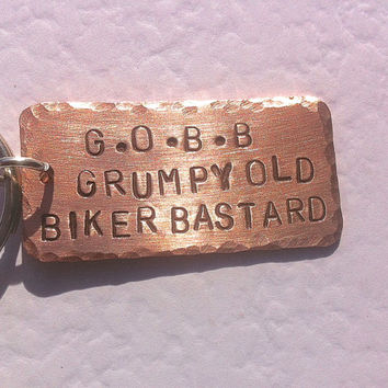 Grumpy old biker copper keyring, Gift for him, insults with love, pet names, keychain,Biker, dad, boyfriend, husband, motor cycle lover