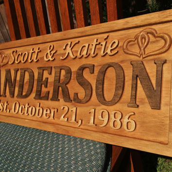 Personalized Wedding Gift Family Name Signs Custom Wood Sign Carved Last Name Home Décor Established Plaque Engraved Couple Anniversary Sign
