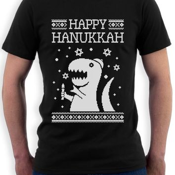 T Shirt O-Neck Men Happy Hanukkah Funny Jewish T-Rex Ugly Christmas T Shirt Gift Idea Harajuku  Shirt