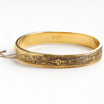 Vintage 14k Yellow Gold Filled Hinged Flower Bangle - Late Art Deco Chased Ornate Floral Vine Bracelet Jewelry Hallmarked Hayward