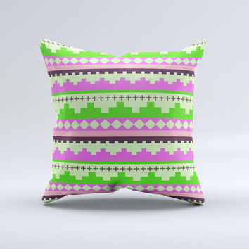 Lime Green Pink Tribal Ethic Geometric Pattern Ink-Fuzed Decorative Throw Pillow